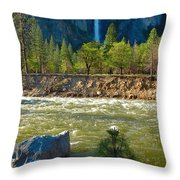 Falls On The Merced Throw Pillow