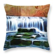 Falls Panorama-features In Groups Rivers Streams And Waterfalls-visions Of The Night Throw Pillow