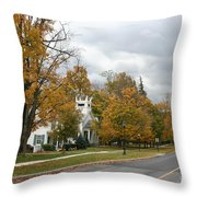 Autumn Trees At The Roadside Throw Pillow