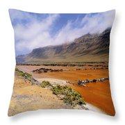 Famara Cliffs And Salinas Del Rio On Lanzarote Throw Pillow