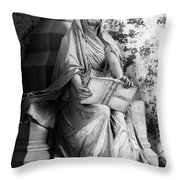 Famiglia Dell Acqua Memorial Marker II Bw Monumental Cemetery Throw Pillow