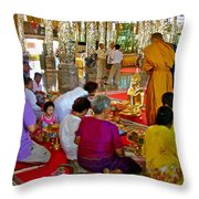 Families Awaiting Teaching From A Monk At Wat Tha Sung Temple In Uthaithani-thailand Throw Pillow