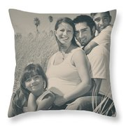 Family Beach Day Throw Pillow