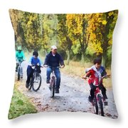 Family Bike Ride Throw Pillow