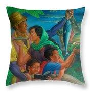 Family Bonding In Bicol Throw Pillow