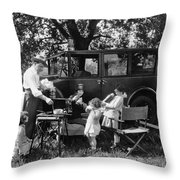 Family Camping Throw Pillow