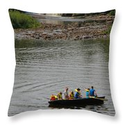 Family Canoeing At Lower Tahquamenon Falls Throw Pillow