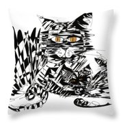 Family Cat Throw Pillow