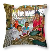 Family In Countryside Outside Of Siem Reap-cambodia Throw Pillow