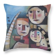 Family In Garden With Cat Throw Pillow