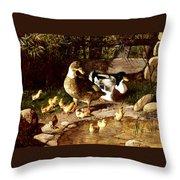 Family Of Ducks Throw Pillow
