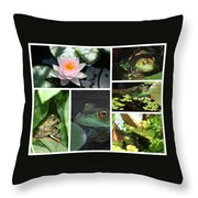 Family Of Frogs Collage Throw Pillow