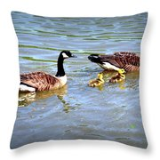 Family Of Geese Out For A Swim Throw Pillow