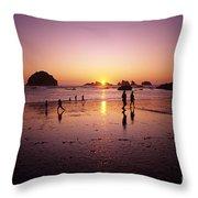Family On Beach Face Rock Bandon Throw Pillow
