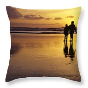 Family On Beach With Dog Sunset Throw Pillow