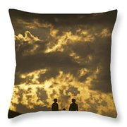 Family On Hillside Holding Hands And Facing Life Together. Throw Pillow