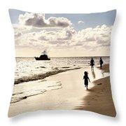 Family On Sunset Beach Throw Pillow