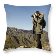 Family On The Great Wall Throw Pillow