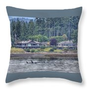 Family Outing - Orcas Throw Pillow by Randy Hall