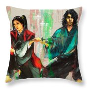 Family Samurai  Throw Pillow