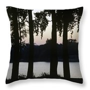 Family Silhouetted By Lake Throw Pillow