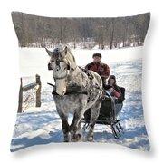 Family Sleigh Ride Throw Pillow