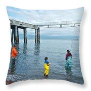 Family Surf Fishing In Kachemak Bay Off Homer Spit-ak Throw Pillow