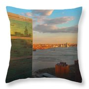 United Nations Secretariat With Chrysler Building Reflection Throw Pillow