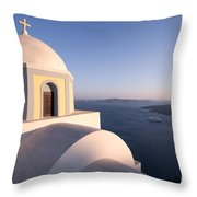 Famous Orthodox Church In Santorini Greece At Sunset Throw Pillow by Matteo Colombo