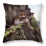 Famous Tigers Nest Monastery Of Bhutan 12 Throw Pillow