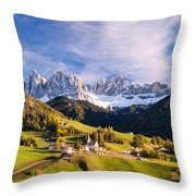 Famous View St Magdalena With Odle Mountains In The Dolomites Italy Throw Pillow