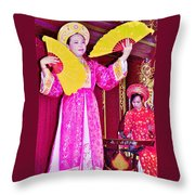 Fan Dancer And Monochord Player In Court Music Show At Citadel Of Nguyen Dynasty In Hue-vietnam Throw Pillow