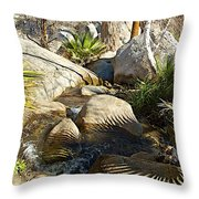 Fan Palm Leaves And Shadows Over Andreas Creek Rocks In Indian Canyons-ca Throw Pillow