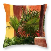 Fan Palm On Patio Throw Pillow