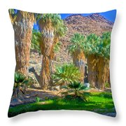 Fan Palms By The Creek In Lower Palm Canyon In Indian Canyons Near Palm Springs-california Throw Pillow
