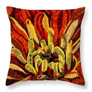 Fanciful Bold Floral Mosaic Throw Pillow