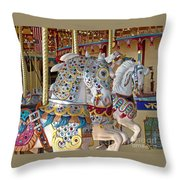 Fanciful Carousel Ponies Throw Pillow