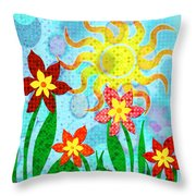 Fanciful Flowers Throw Pillow by Shawna Rowe