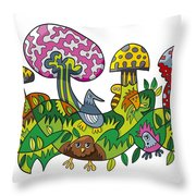Fanciful Mushroom Nature Doodle Throw Pillow