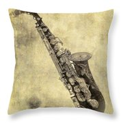 Fancy Antique Saxophone In Pastel Throw Pillow