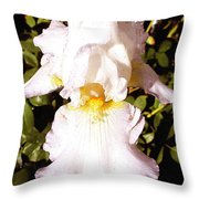 Fancy Lady White Iris Throw Pillow