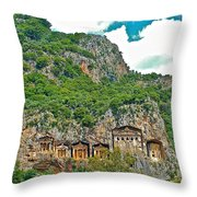 Fancy Tomb Carvings At The Top In Daylan-turkey Throw Pillow