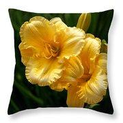 Fancy Yellow Daylilies Throw Pillow