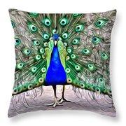 Fanning Peacock Throw Pillow