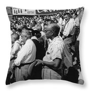 Fans At Yankee Stadium Stand For The National Anthem At The Star Throw Pillow by Underwood Archives