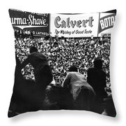 Fans In The Bleachers During A Baseball Game At Yankee Stadium Throw Pillow by Underwood Archives