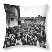 Fans Leaving Yankee Stadium. Throw Pillow by Underwood Archives