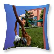 Fantasia Mickey And Broom Floral Walt Disney World Hollywood Studios Throw Pillow