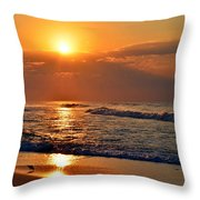 Fantastic Sunrise Colors Clouds Rays And Waves On Navarre Beach Throw Pillow