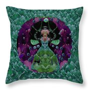 Fantasy Cat Fairy Lady On A Date With Yoda. Throw Pillow
